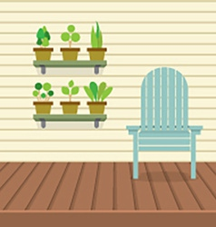 Empty chair on wood wall and ground with pot vector