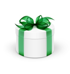 White round gift box with green ribbon and bow vector