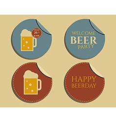 Beer party badges and labels invitation template vector