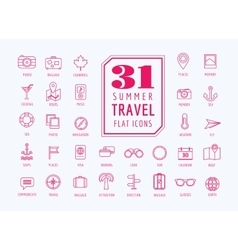 Travel icons set sea travel and holiday vector