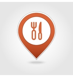 Fork and knife map pin icon vector