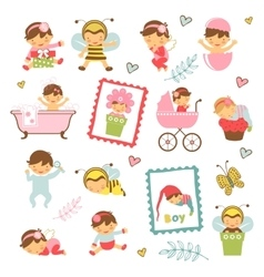 Colorful collection of adorable babies vector