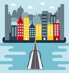 Flat cityscape with buildings and bridge over the vector