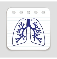 Doodle lungs icon vector