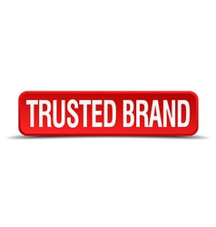 Trusted brand red 3d square button isolated on vector