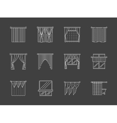 White flat line curtains decoration icons vector