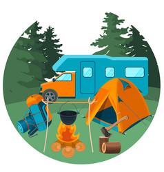 Caravan in forest with picnic equipment vector
