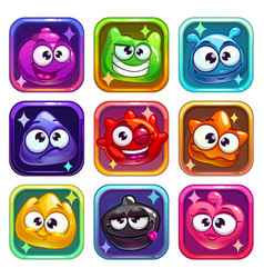 colorful app icons with funny jelly characters vector image vector image