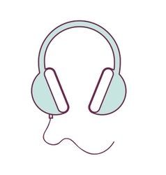 contour headset stereo sound in light blue vector image vector image