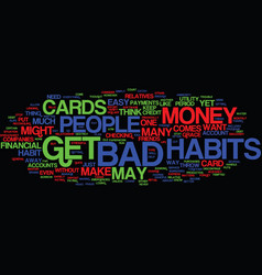Financial bad habits text background word cloud vector