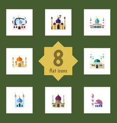 flat icon minaret set of architecture islam vector image