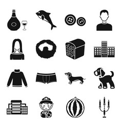 Fruit alcohol animal and other web icon in black vector