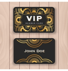 Golden mandala VIP access card vector image