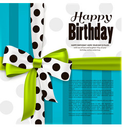 Happy birthday greeting card green bow and ribbon vector