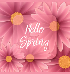 Hello spring text floral background vector
