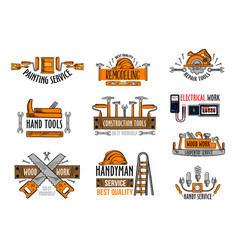 Icons house construction repair work tools vector