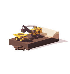 Low poly power shovel and haul truck vector