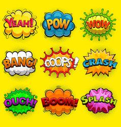 Multicolored comic speech bubbles sound effects vector