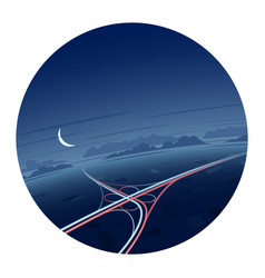 Night traffic and roads round icon vector
