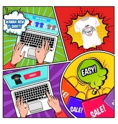 Online shopping comics composition vector