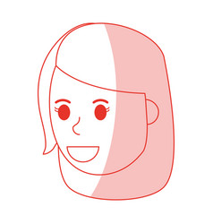 Red shading silhouette cartoon side view face girl vector