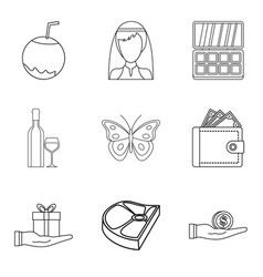 restaurant evening icons set outline style vector image