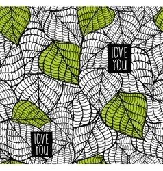 Seamless pattern with natural leaves vector