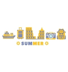 Summer Vacation Symbols Set By Five In Line vector image vector image