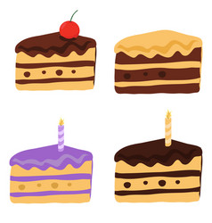 Tasty cake slices with frosting and cream vector