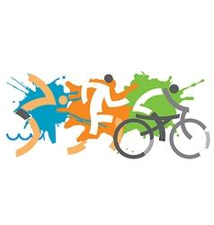 Triathlon racers vector
