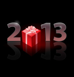 Twenty thirteen year gift on black background vector