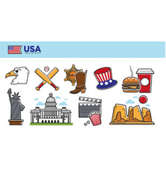 usa travel destination promotional poster with vector image vector image