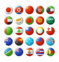 world flags round badges magnets asia and oceania vector image vector image