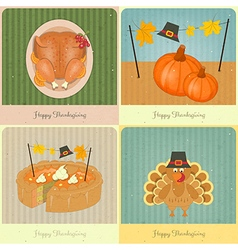 Happy thanksgiving retro cards vector