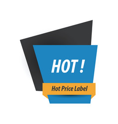 Hot price label blue yellow black vector