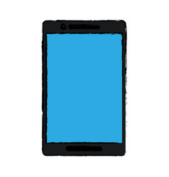 drawing black smartphone blue screen mobile vector image