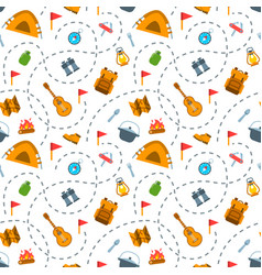 Hiking tourism flat seamless background pattern vector