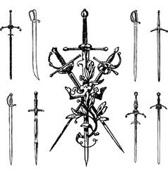 Set of vintage swords vector