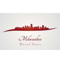Milwaukee skyline in red vector
