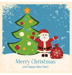 Retro Christmas card with happy Santa and fir vector image