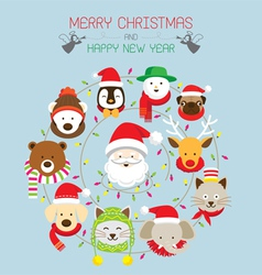 Christmas santa and animals vector