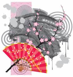 Japan fan with a blot vector
