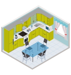 Isometric kitchen interior vector