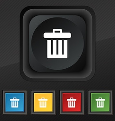 Recycle bin icon symbol set of five colorful vector
