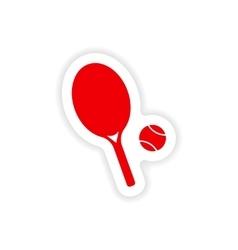 Icon sticker realistic design on paper tennis vector