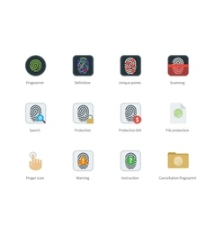 Fingerprint color icons on white background vector