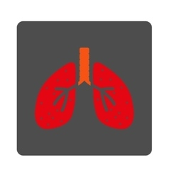 Lungs rounded square button vector