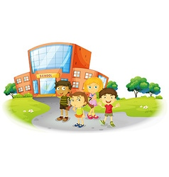 Boys and girls standing on the school ground vector