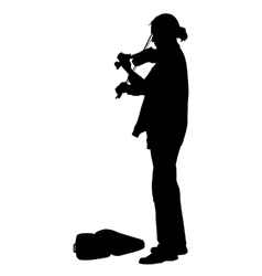 Silhouette street violinist on white background vector