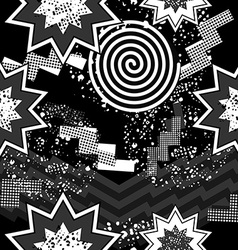 80s pop art seamless pattern in black and white vector